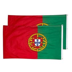 Juvale Portugal Flags - 2-Piece Outdoor 3x5 Feet Portugal Fl