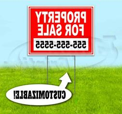PROPERTY FOR SALE CUSTOM PHONE 18x24 Yard Sign WITH STAKE Co