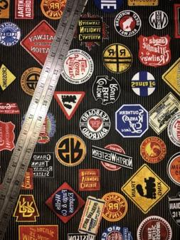 Railroad Signs All Over Train Names Cotton Fabric 1/2 Yard