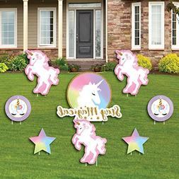 Rainbow Unicorn - Yard Sign & Outdoor Lawn Decorations - Mag