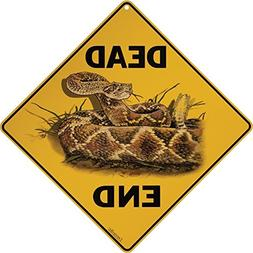 Crossings Rattlesnake Dead End Metal Warning Sign,Caution Ye