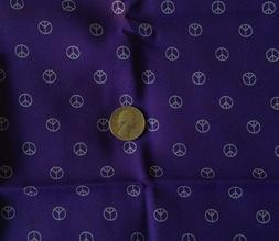 Rayon or Polyester Fabric MINIATURE PEACE SIGNS on Purple 46