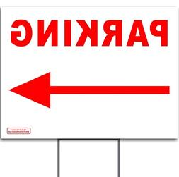 "Red 24"" x 18"" Parking Directional Left OR Right Arrow Sign w"