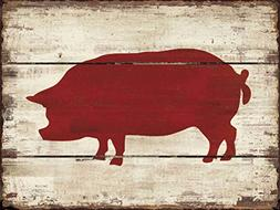 Barnyard Designs Red Pig Silhouette Retro Vintage Wooden Pla
