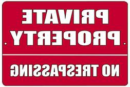Red Private Property No Trespassing Metal Tin Sign Business