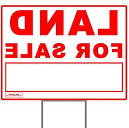 "Large 24"" x 18"" Red on White ""Land For Sale"" Yard Sign w/ Me"