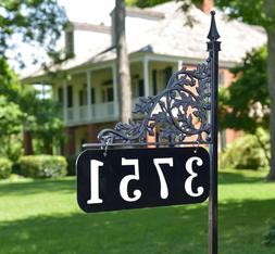 "Reflective Address Yard Sign Oak 34"" Post - Double Sided Cus"