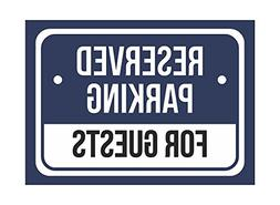 Reserved Parking for Guests Print Blue White and Black Notic