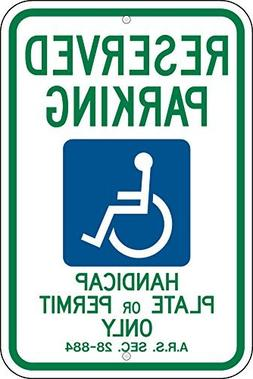 Reserved Parking Handicap Plate Or Permit Only With Graphic,