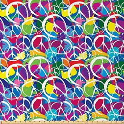 Ambesonne Retro Fabric by The Yard, Universal Peace Sign Sym