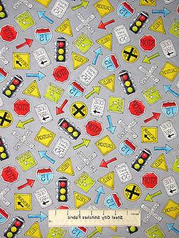 Road Traffic Signal Sign Toss Gray Cotton Fabric HG&Co #6350