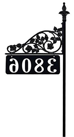 "Rose Reflective Double Sided Address Sign With 47"" Pole. Eas"