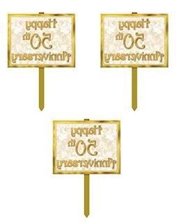 Beistle S55904AZ3, 3 Piece 50th Anniversary Yard Signs, 12''