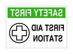 Safety First Aid Station Sign- White Green Black Home Decor