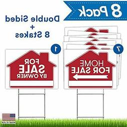 For Sale Sign & Poster Kits By Owner - 8 Premium Yard Signs