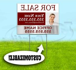 FOR SALE CUSTOM REALTOR 18x24 Yard Sign WITH STAKE Corrugate
