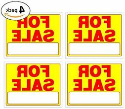 For Sale Signs 11 X 14 Inch - 4 Pack, Neon Fluorescent Yello