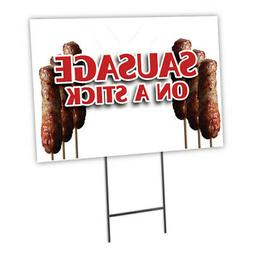 SAUSAGE ON A STICK Yard Sign & Stake outdoor plastic coropla