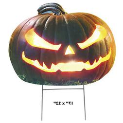 """SCARY PUMPKIN Plastic Outdoor 16"""" YARD SIGN Staked Jack o' L"""