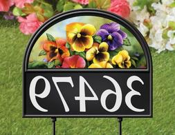 Seasonal Address Marker Sign Spring Flowers House Stake Outd
