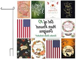 Seasonal Outdoor Garden Flag Set - 10 Double-Sided Year Roun