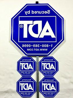 ADT SECURITY ALARM YARD SIGN w/ 4 STICKERS - WEATHERPROOF &