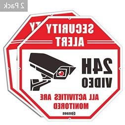 COSOOS 2-Pack Video Security Sign - CCTV Security Alert, Oct
