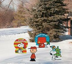 Set of 4 Christmas Festive Snoopy Yard Stake Signs
