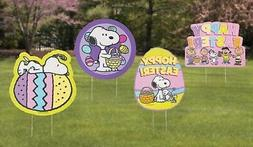 Set of 4 Happy Easter Peanuts Snoopy Yard Sign Stakes Outdoo