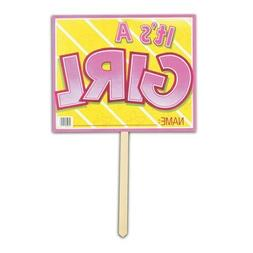 """Baby Shower It's a Girl Yard Sign 12"""" x 15"""" Paper Yard Sign"""