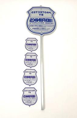1 YARD SIGN 4 BRINKS SECURITY STICKERS HOME ALARM SIGN ADT '