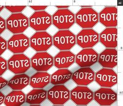 Sign Traffic Stop Abstract Geometric Whimsical Fabric Printe