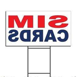 Sim Cards Red Blue Corrugated Plastic Yard Sign /Free Stakes