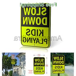 Signs Authority Slow Down Kids Playing Yard Sign Ultra Refle