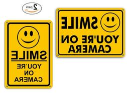 Smile You're on Camera Yellow Warning Signs Home Yard Secur