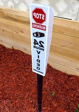 Solar Lighted Security Sign - Bright Video Surveillance Yard