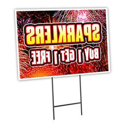 "SPARKLERS BUY 1 GET 1 FREE 18""x24"" Yard Sign & Stake outdoor"