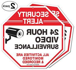 "2-Pack Video Surveillance Sign, 10"" x 10"" Rust Free .040 Alu"