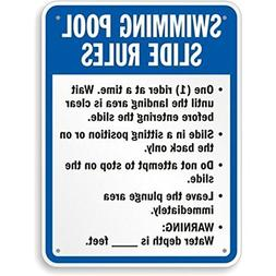 """Swimming Pool Slide Rules Sign, 18"""" High X 12"""" Wide"""