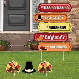 Thanksgiving Turkey Street Sign Cutouts - Fall Harvest & Tha