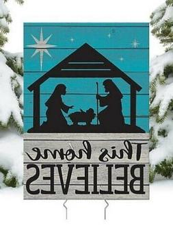 This Home Believes Nativity Christmas Yard Sign Stake Holida