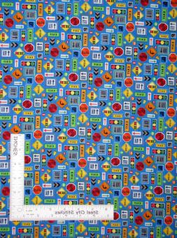 Traffic Sign One Way Stop Blue Cotton Fabric Fabriquilt Inc