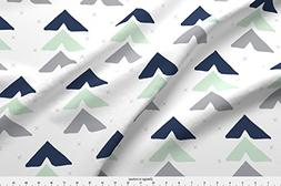 Spoonflower Triangles Fabric Mint + Navy + Grey by Graceandc
