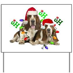 TWO BASSETS IN CHRISTMAS LIGHTS Ho Ho Ho Yard SignYard Sign,