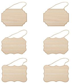 Unfinished Wood Plaque - 6-Pack Hanging Wooden Plaque with J