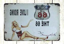 US SELLER- garden metal yard signs Route 66 I Love Riding pi