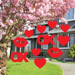 Valentine's Lawn Decorations - Hanging Hearts, Kisses, and X