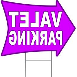 """VALET PARKING 2 Sided Arrow Yard Sign 18"""" x 24"""" with Metal S"""