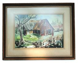 Vintage Old Watercolor Painting Verso two sided Barn Yard Tr