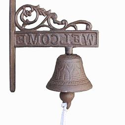 KiaoTime Vintage Rustic Cast Iron Welcome Sign Ring Bell Cou